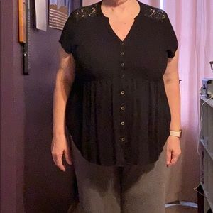 Torrid 2x black button up blouse